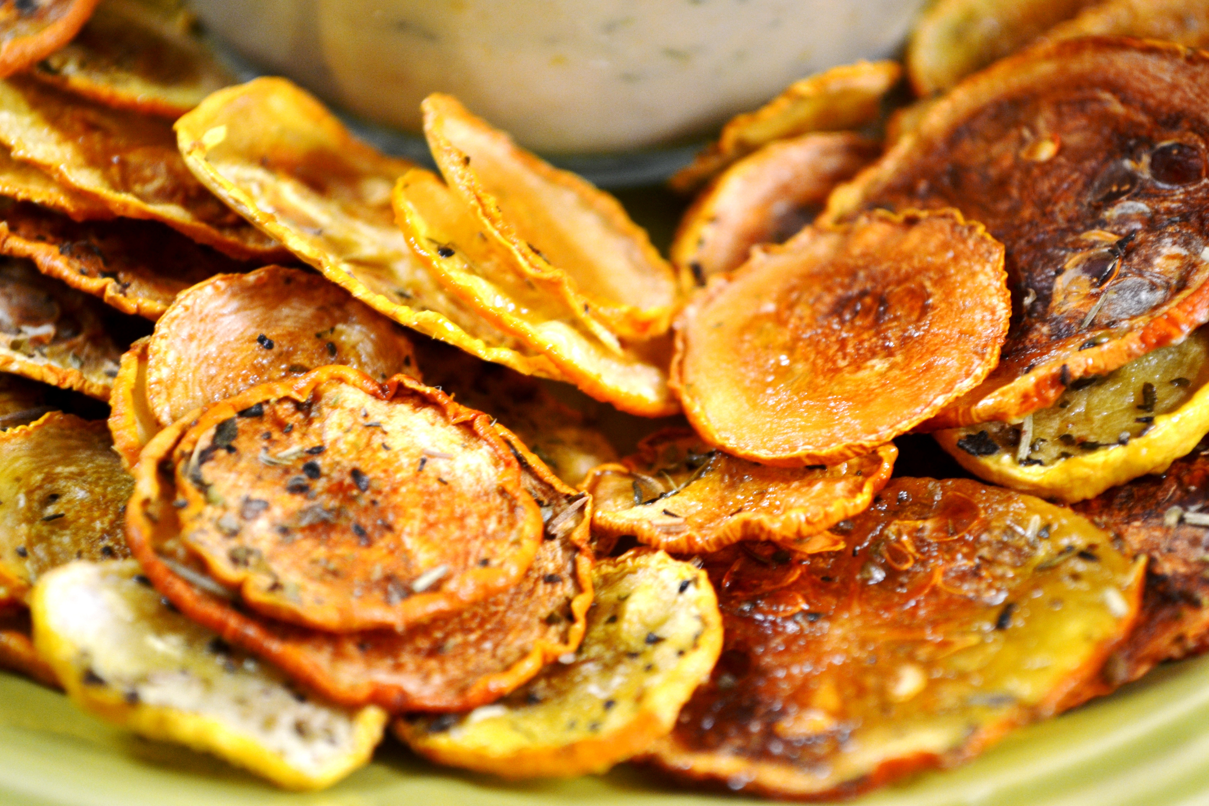 Oven Baked Squash Chips Free Recipe Below